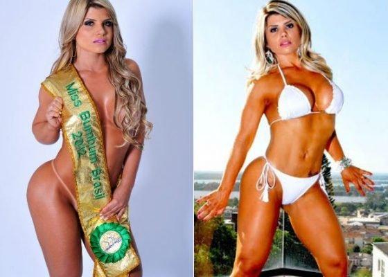 Carine Felizardo em 2012, quando foi Miss Bumbum, e em 2016, durante ensaio sensual (Foto: CO Assessoria/Divulgação // Ricardo Pimoli/Divulgação)
