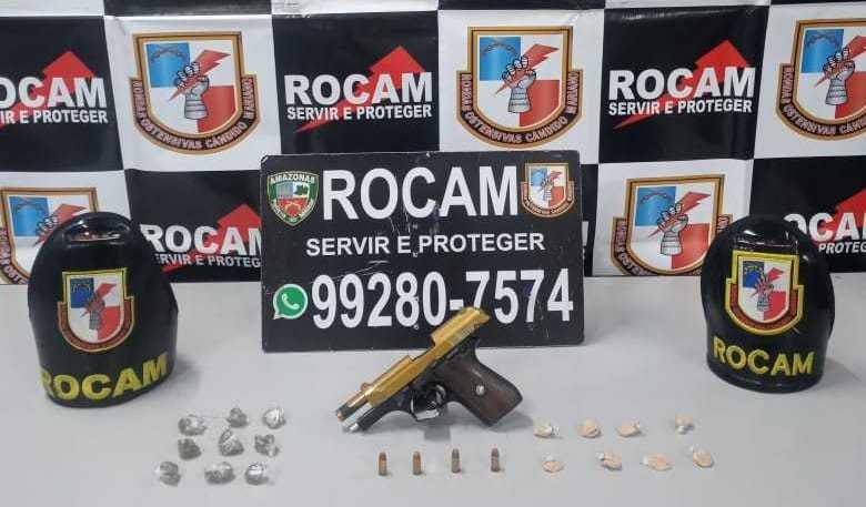 Rocam detém jovem com mandado de prisão em aberto portando arma de fogo e entorpecentes no Novo Israel