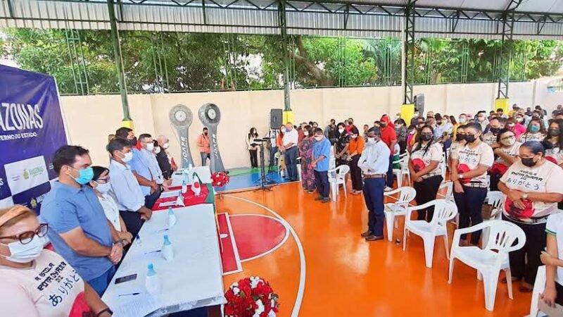 Governo do Amazonas inaugura quadra poliesportiva em escola de Parintins, em parceria com o consulado japonês